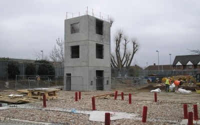 Precast concrete fire station training tower