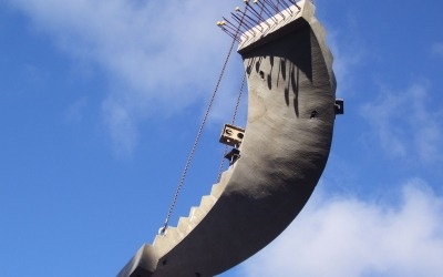 precast concrete curved stair installed by crane