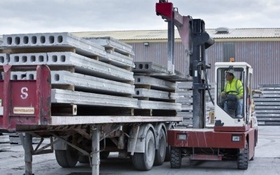 hollowcore concrete planks loaded onto trailer