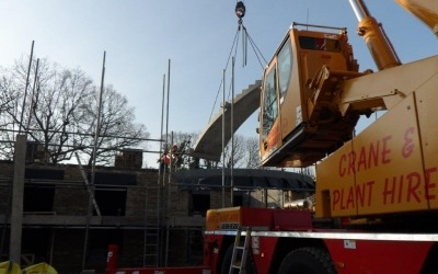 precast concrete stair flight installed by cadman cranes