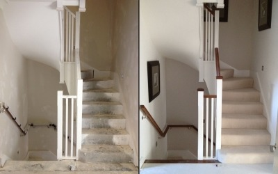 side by side view of precast concrete winder staircase