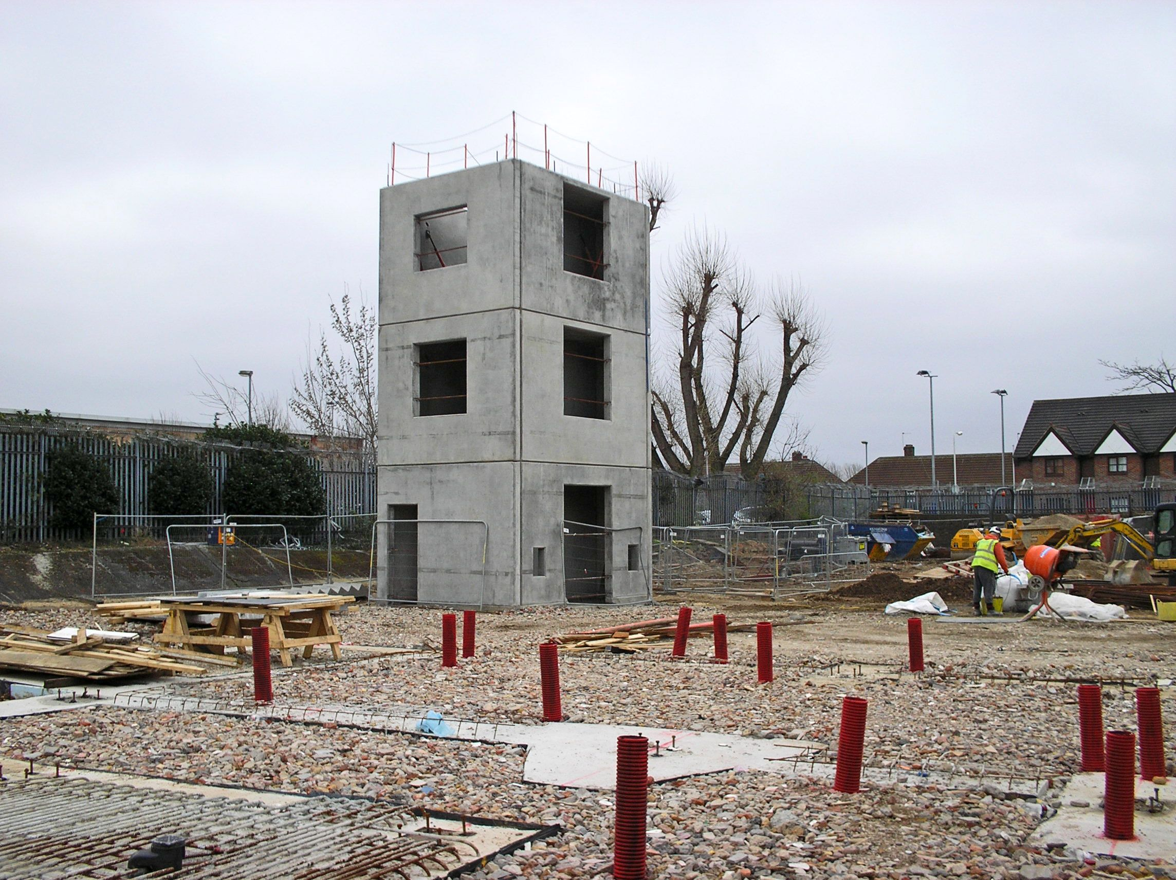 precast concrete drill tower installed